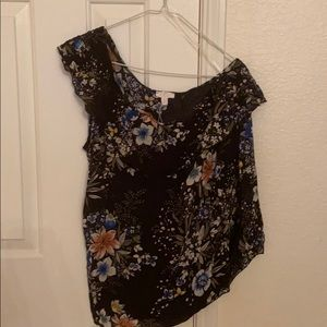 CLEARANCE: Floral print off one shoulder blouse